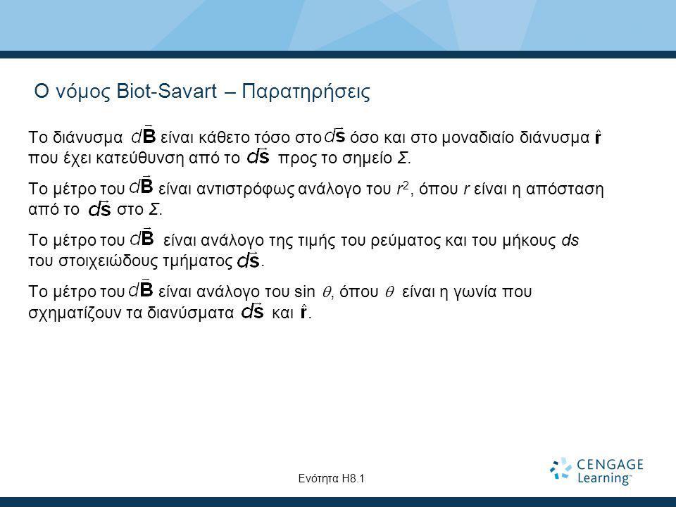 Ο νόμος Biot-Savart – Παρατηρήσεις Το διάνυσμα είναι κάθετο τόσο στο όσο και στο μοναδιαίο διάνυσμα που έχει κατεύθυνση από το προς το σημείο Σ. Το μέ