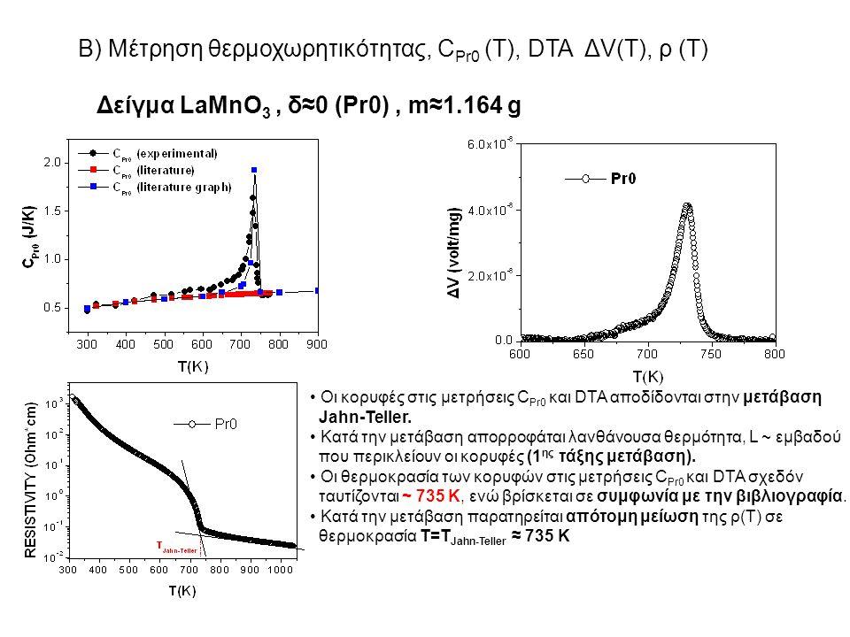 Β) Μέτρηση θερμοχωρητικότητας, C Pr0 (T), DTA ΔV(T), ρ (T) Δείγμα LaMnO 3, δ≈0 (Pr0), m≈1.164 g Οι κορυφές στις μετρήσεις C Pr0 και DTA αποδίδονται στ