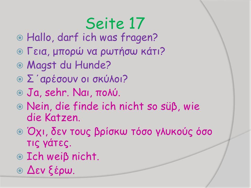 Seite 17  Hallo, darf ich was fragen.  Γεια, μπορώ να ρωτήσω κάτι.