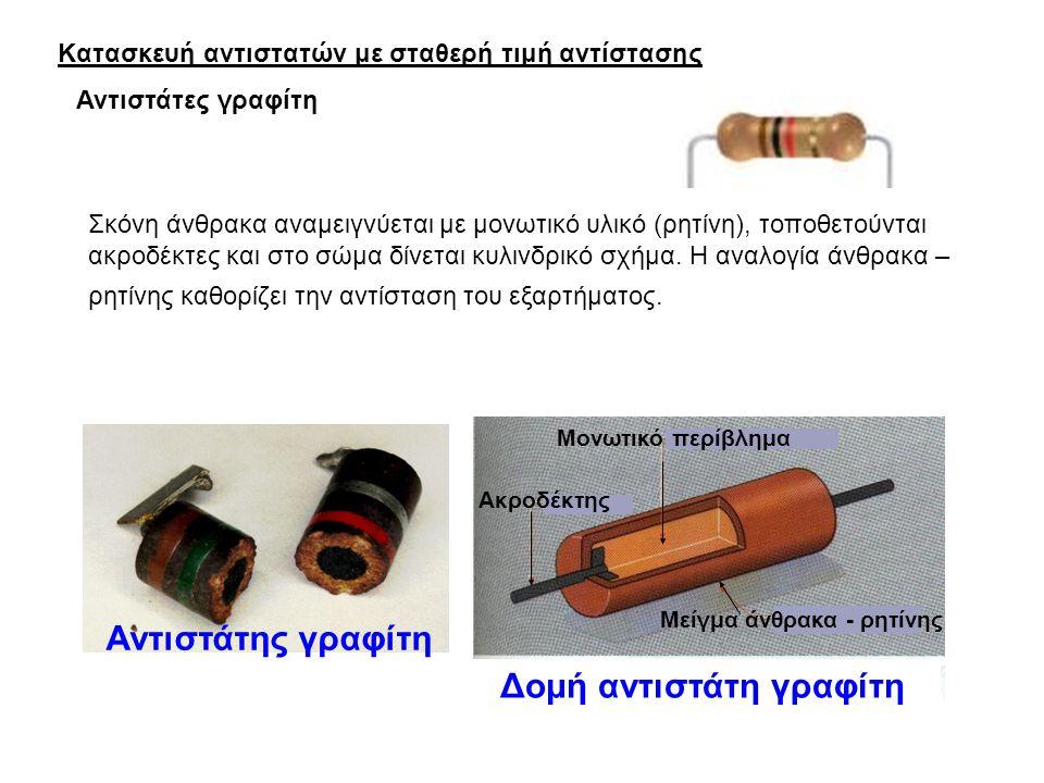 Κατασκευή αντιστατών με σταθερή τιμή αντίστασης Σκόνη άνθρακα αναμειγνύεται με μονωτικό υλικό (ρητίνη), τοποθετούνται ακροδέκτες και στο σώμα δίνεται κυλινδρικό σχήμα.