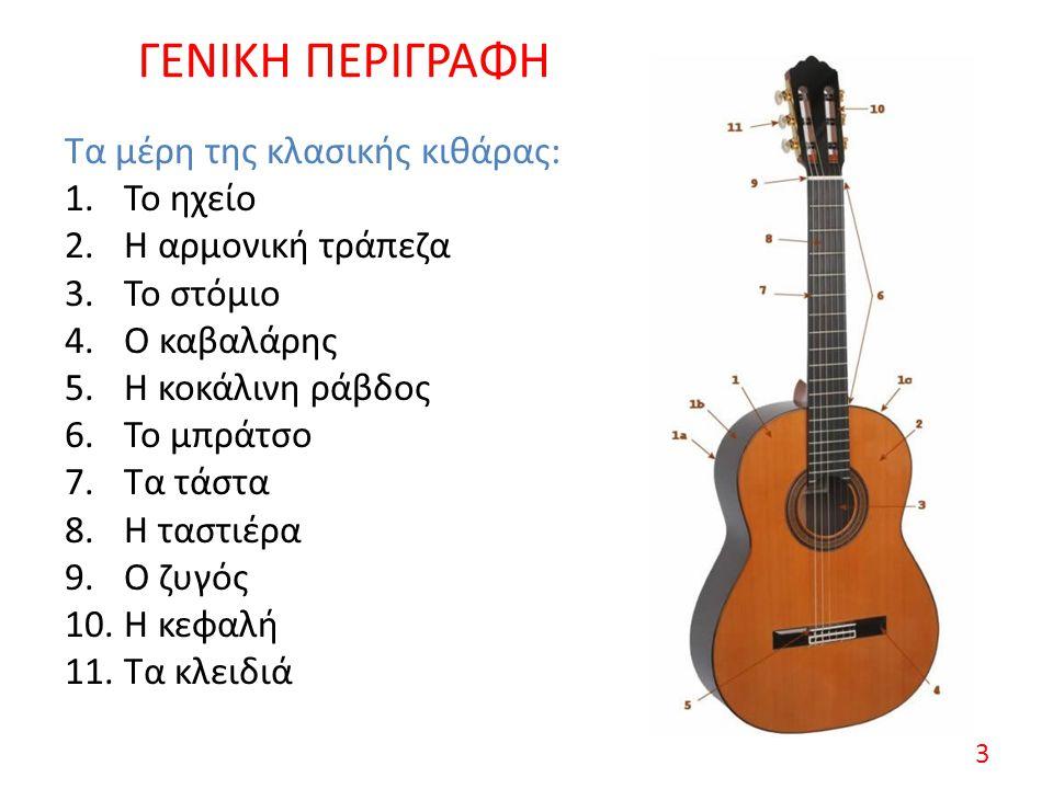 ΓΕΝΙΚΗ ΠΕΡΙΓΡΑΦΗ Τα μέρη της κλασικής κιθάρας: 1.Το ηχείο 2.Η αρμονική τράπεζα 3.Το στόμιο 4.Ο καβαλάρης 5.Η κοκάλινη ράβδος 6.Το μπράτσο 7.Τα τάστα 8