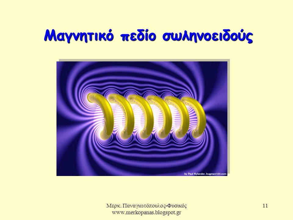Μερκ. Παναγιωτόπουλος-Φυσικός www.merkopanas.blogspot.gr 11 Μαγνητικό πεδίο σωληνοειδούς