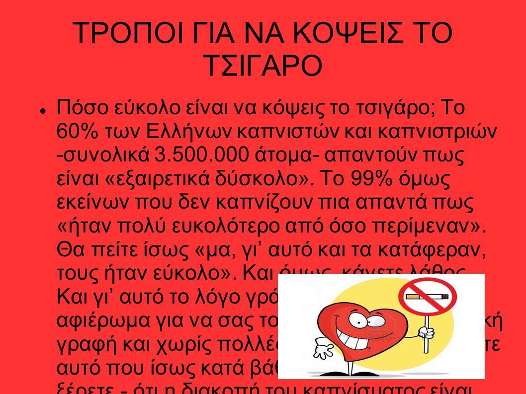 ΤΡΟΠΟΙ ΓΙΑ ΝΑ ΚΟΨΕΙΣ ΤΟ ΤΣΙΓΑΡΟ Πόσο εύκολο είναι να κόψεις το τσιγάρο; Tο 60% των Eλλήνων καπνιστών και καπνιστριών -συνολικά 3.500.000 άτομα- απαντο