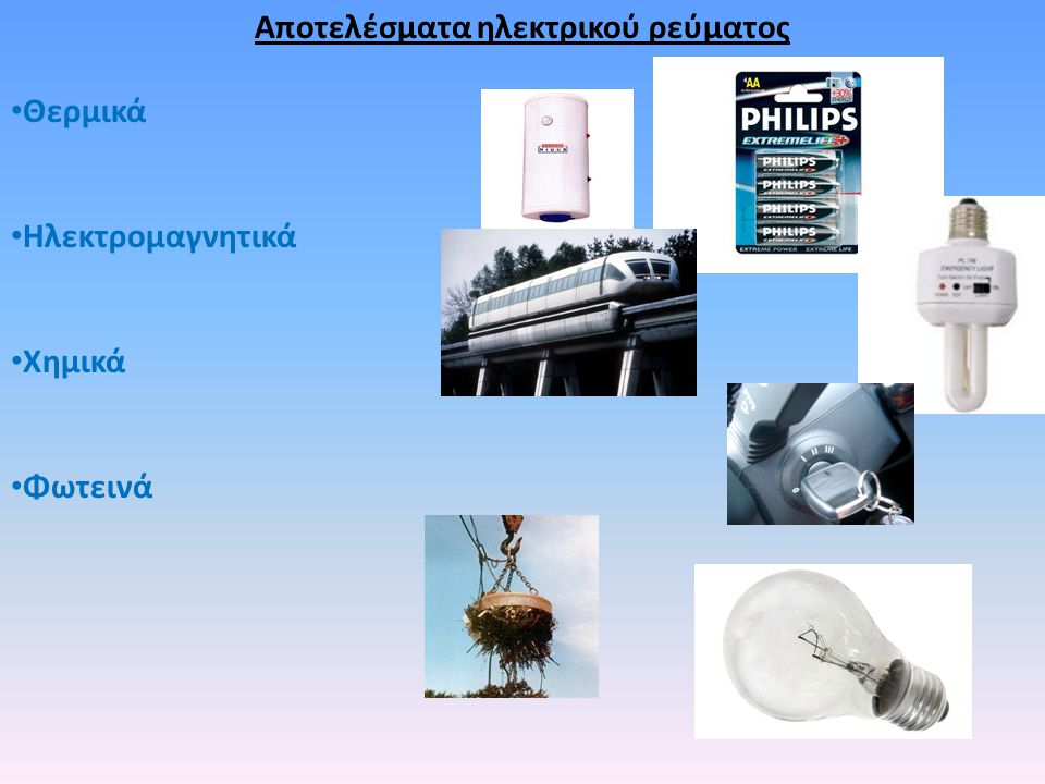 Αποτελέσματα ηλεκτρικού ρεύματος Θερμικά Ηλεκτρομαγνητικά Χημικά Φωτεινά