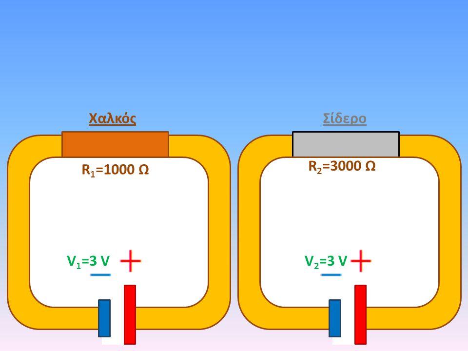 ΧαλκόςΣίδερο R 1 =1000 Ω R 2 =3000 Ω V1=3 VV1=3 VV 2 =3 V