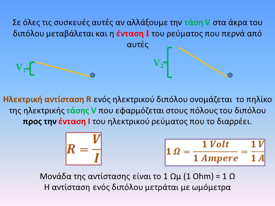 Σε όλες τις συσκευές αυτές αν αλλάξουμε την τάση V στα άκρα του διπόλου μεταβάλεται και η ένταση I του ρεύματος που περνά από αυτές Ηλεκτρική αντίσταση R ενός ηλεκτρικού διπόλου ονομάζεται το πηλίκο της ηλεκτρικής τάσης V που εφαρμόζεται στους πόλους του διπόλου προς την ένταση Ι του ηλεκτρικού ρεύματος που το διαρρέει.