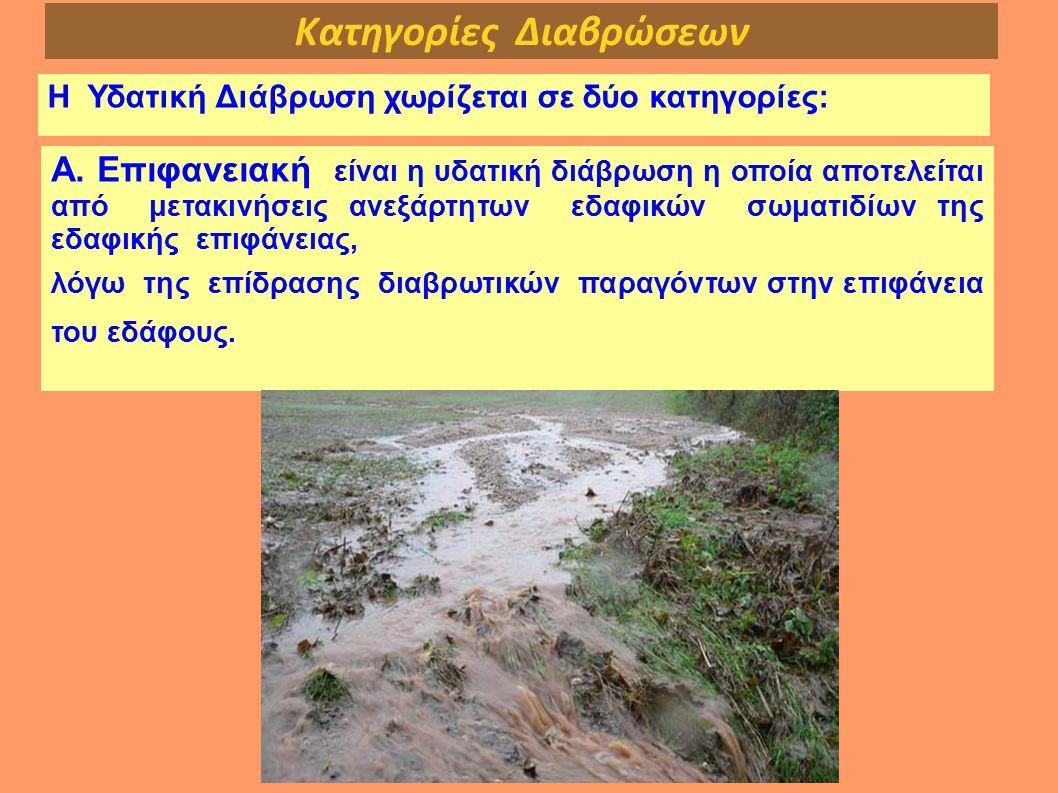 Κατηγορίες Διαβρώσεων Η Υδατική Διάβρωση χωρίζεται σε δύο κατηγορίες: Α. Επιφανειακή είναι η υδατική διάβρωση η οποία αποτελείται από μετακινήσεις ανε
