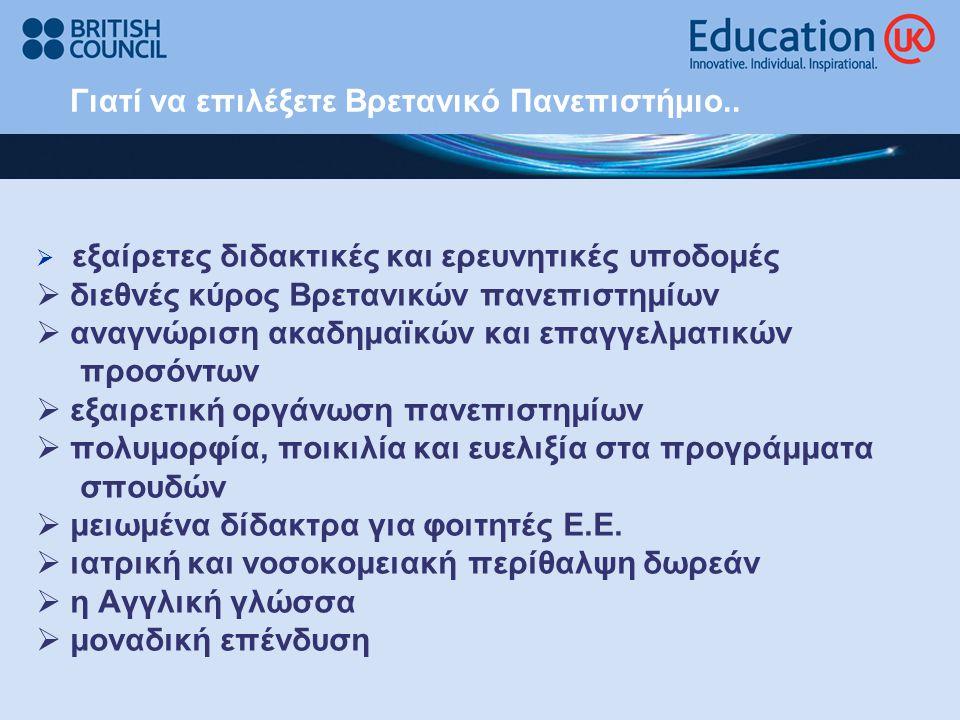 Γιατί να επιλέξετε Bρετανικό Πανεπιστήμιο..  εξαίρετες διδακτικές και ερευνητικές υποδομές  διεθνές κύρος Βρετανικών πανεπιστημίων  αναγνώριση ακαδ