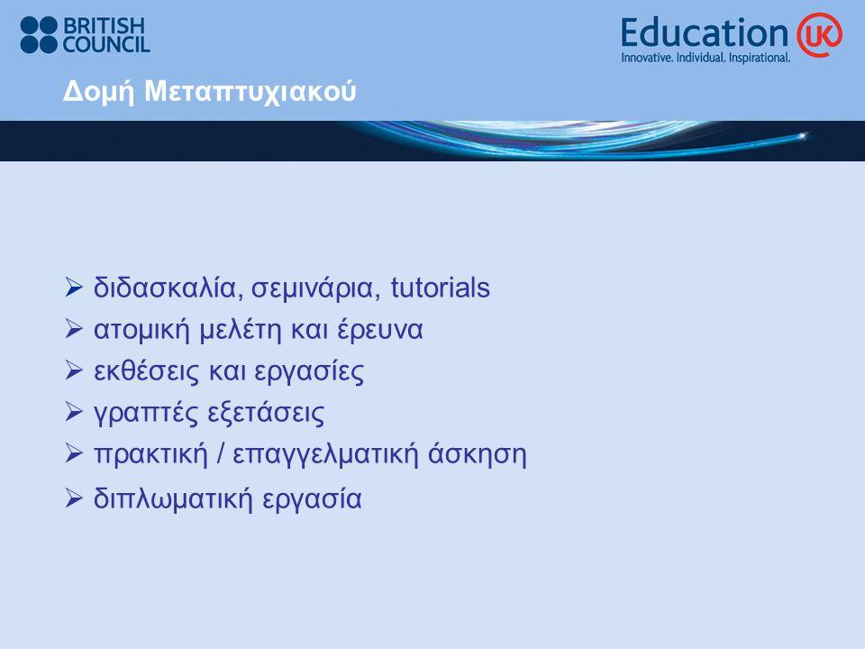 Δομή Μεταπτυχιακού  διδασκαλία, σεμινάρια, tutorials  ατομική μελέτη και έρευνα  εκθέσεις και εργασίες  γραπτές εξετάσεις  πρακτική / επαγγελματι