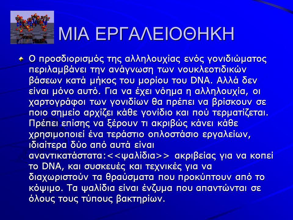 ΜΙΑ ΕΡΓΑΛΕΙΟΘΗΚΗ Ο προσδιορισμός της αλληλουχίας ενός γονιδιώματος περιλαμβάνει την ανάγνωση των νουκλεοτιδικών βάσεων κατά μήκος του μορίου του DNA.