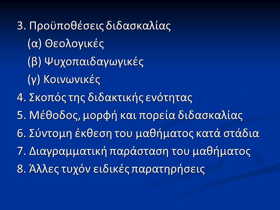 3. Προϋποθέσεις διδασκαλίας (α) Θεολογικές (β) Ψυχοπαιδαγωγικές (γ) Κοινωνικές 4.