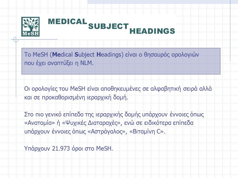 Το MeSH (Medical Subject Headings) είναι ο θησαυρός ορολογιών που έχει αναπτύξει η NLM. Οι ορολογίες του MeSH είναι αποθηκευμένες σε αλφαβητική σειρά