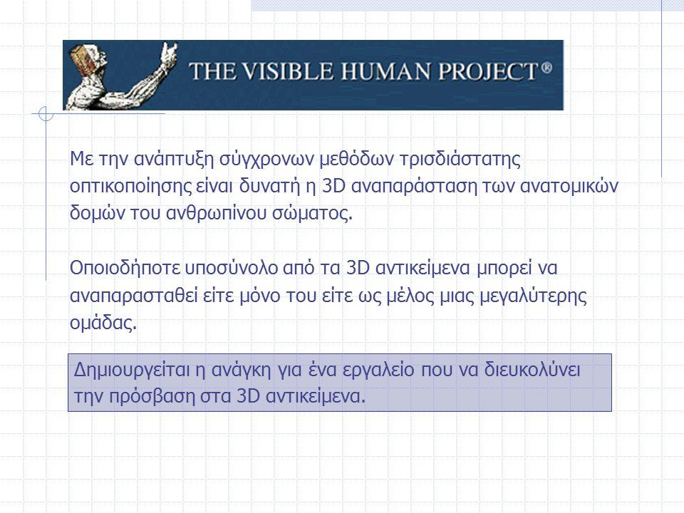 Με την ανάπτυξη σύγχρονων μεθόδων τρισδιάστατης οπτικοποίησης είναι δυνατή η 3D αναπαράσταση των ανατομικών δομών του ανθρωπίνου σώματος. Οποιοδήποτε