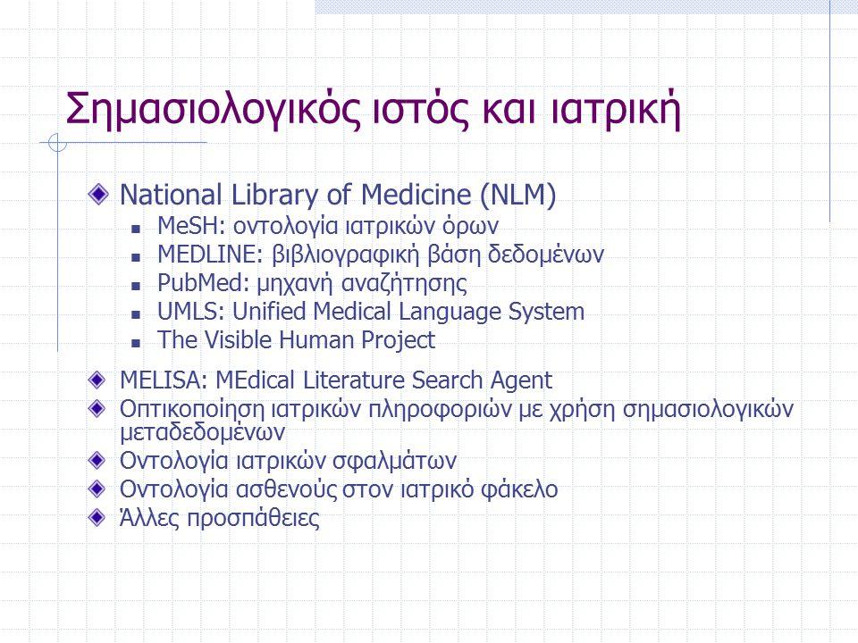 Σημασιολογικός ιστός και ιατρική National Library of Medicine (NLM) MeSH: οντολογία ιατρικών όρων MEDLINE: βιβλιογραφική βάση δεδομένων PubMed: μηχανή