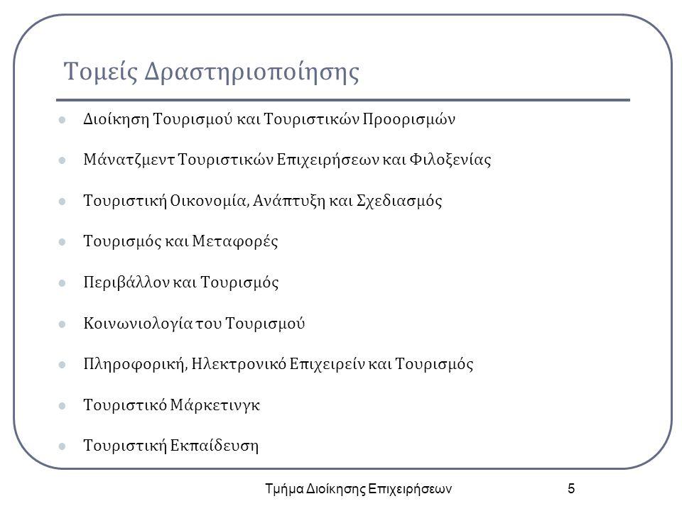 Τομείς Δραστηριοποίησης Διοίκηση Τουρισμού και Τουριστικών Προορισμών Μάνατζμεντ Τουριστικών Επιχειρήσεων και Φιλοξενίας Τουριστική Οικονομία, Ανάπτυξ