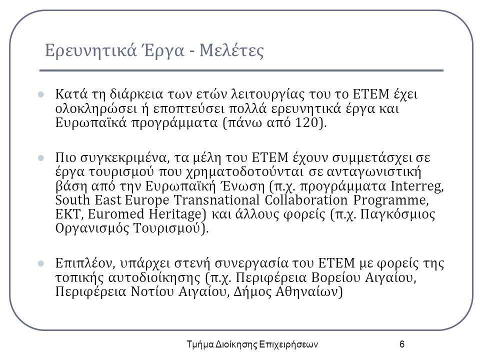Ερευνητικά Έργα - Μελέτες Κατά τη διάρκεια των ετών λειτουργίας του το ΕΤΕΜ έχει ολοκληρώσει ή εποπτεύσει πολλά ερευνητικά έργα και Ευρωπαϊκά προγράμμ