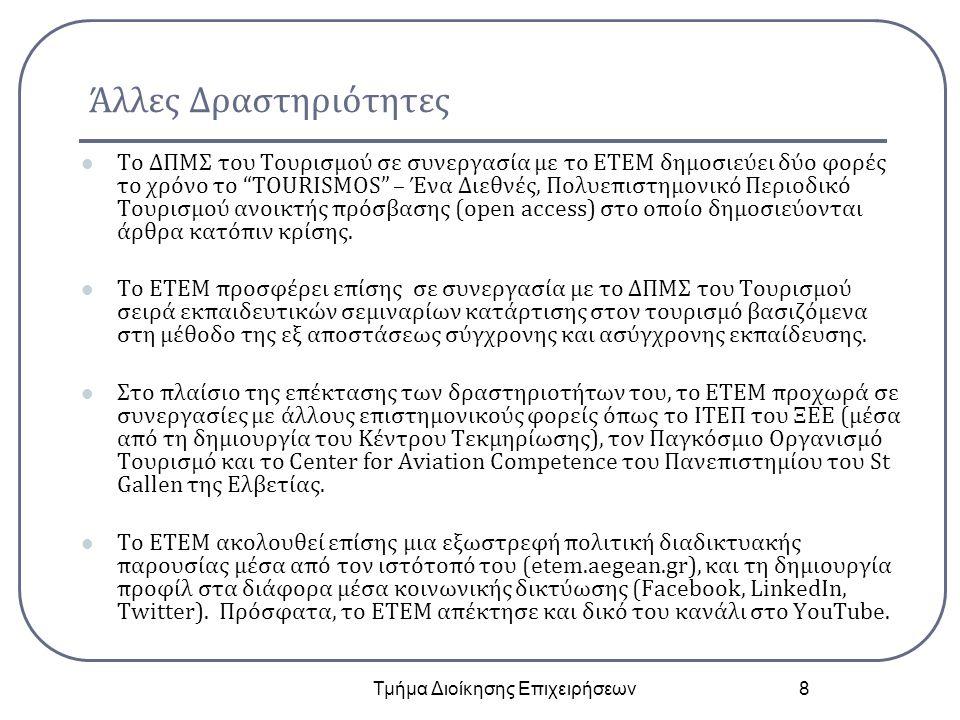 """Άλλες Δραστηριότητες Το ΔΠΜΣ του Τουρισμού σε συνεργασία με το ΕΤΕΜ δημοσιεύει δύο φορές το χρόνο το """"TOURISMOS"""" – Ένα Διεθνές, Πολυεπιστημονικό Περιο"""