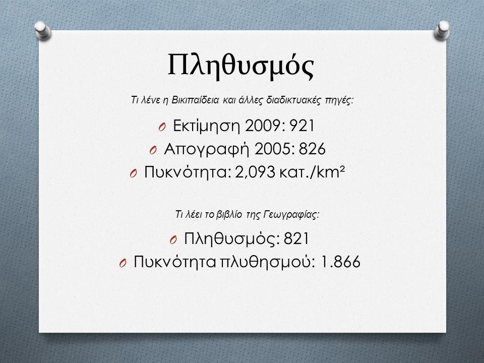 Πληθυσμός O Εκτίμηση 2009: 921 O Απογραφή 2005: 826 O Πυκνότητα: 2,093 κατ./km² Τι λένε η Βικιπαίδεια και άλλες διαδικτυακές πηγές : Τι λέει το βιβλίο