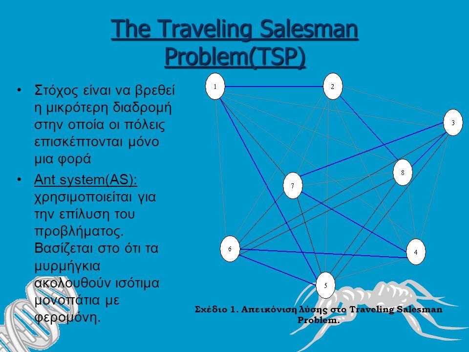 The Traveling Salesman Problem(TSP) Στόχος είναι να βρεθεί η μικρότερη διαδρομή στην οποία οι πόλεις επισκέπτονται μόνο μια φορά Ant system(AS): χρησιμοποιείται για την επίλυση του προβλήματος.