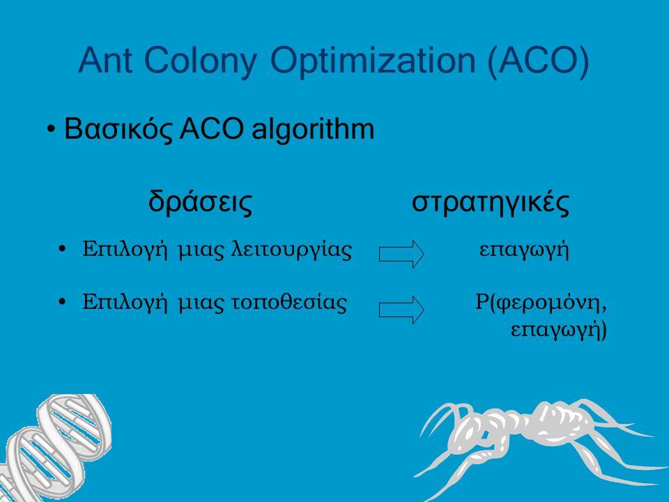Ant Colony Optimization (ACO) Επιλογή μιας λειτουργίας επαγωγή Επιλογή μιας τοποθεσίας Ρ(φερομόνη, επαγωγή) δράσεις στρατηγικές Βασικός ACO algorithm
