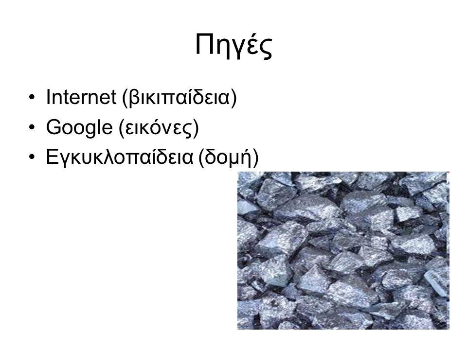 Πηγές Internet (βικιπαίδεια) Google (εικόνες) Εγκυκλοπαίδεια (δομή)