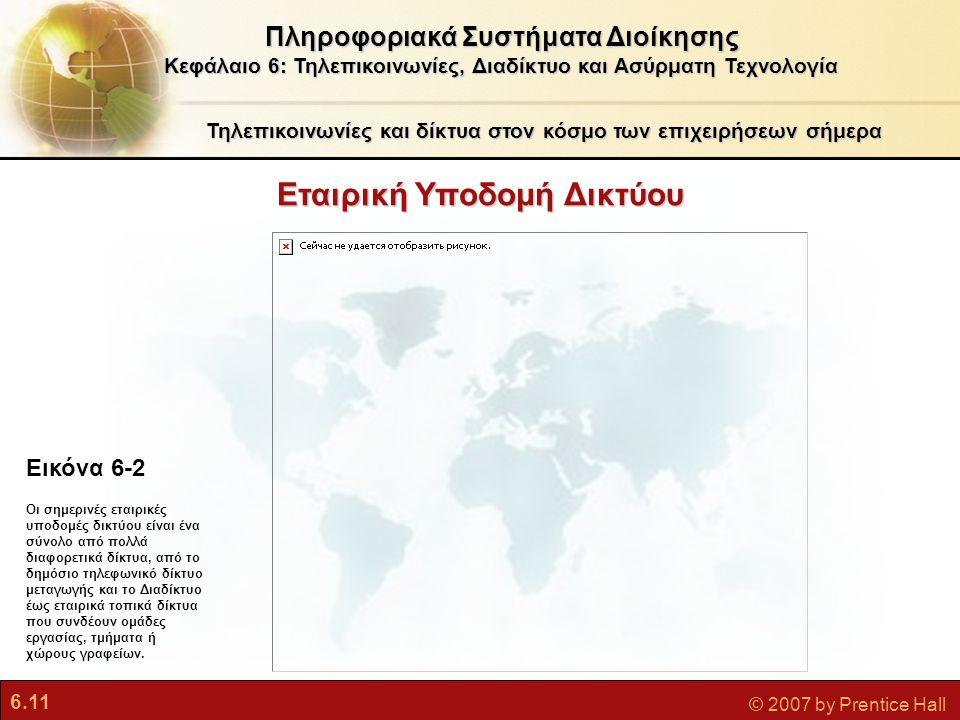 6.11 © 2007 by Prentice Hall Εταιρική Υποδομή Δικτύου Τηλεπικοινωνίες και δίκτυα στον κόσμο των επιχειρήσεων σήμερα Πληροφοριακά Συστήματα Διοίκησης Κ