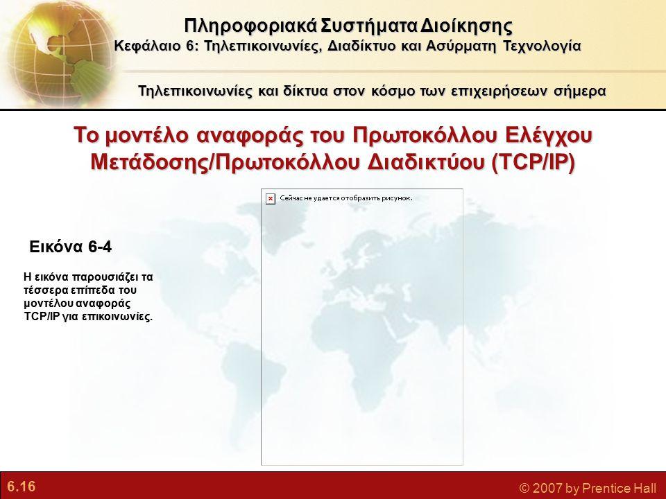 6.16 © 2007 by Prentice Hall Το μοντέλο αναφοράς του Πρωτοκόλλου Ελέγχου Mετάδοσης/Πρωτοκόλλου Διαδικτύου (TCP/IP) Τηλεπικοινωνίες και δίκτυα στον κόσ