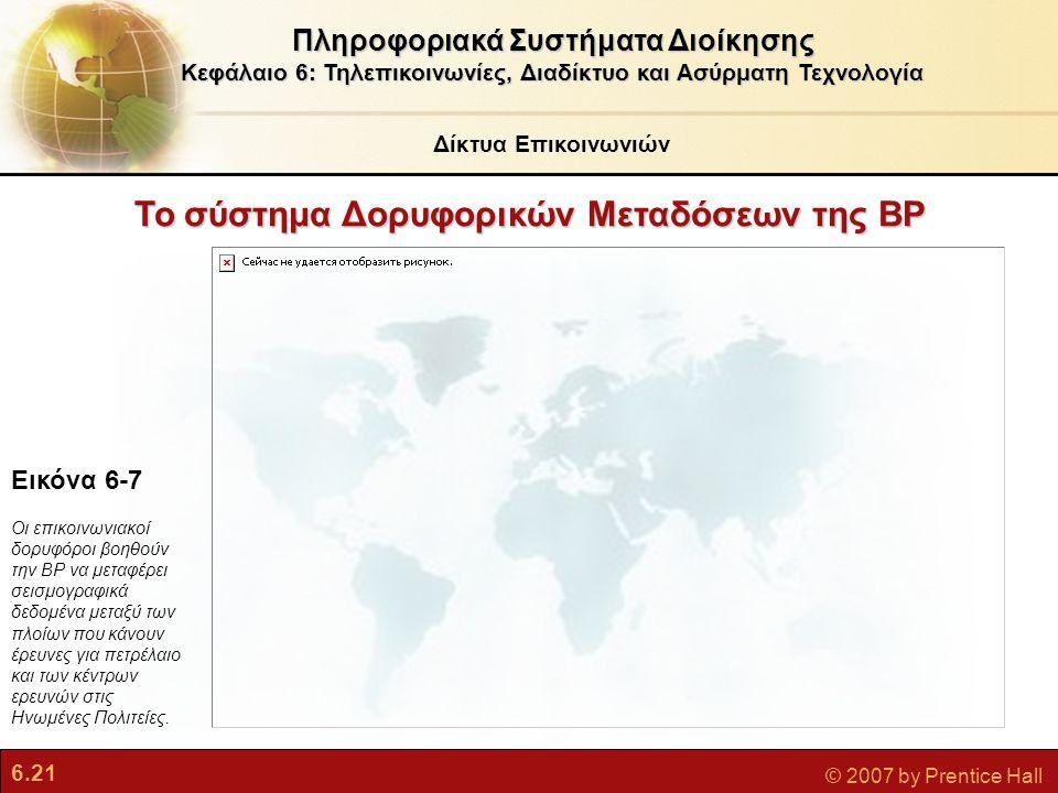 6.21 © 2007 by Prentice Hall Το σύστημα Δορυφορικών Μεταδόσεων της BP Πληροφοριακά Συστήματα Διοίκησης Κεφάλαιο 6: Τηλεπικοινωνίες, Διαδίκτυο και Ασύρ