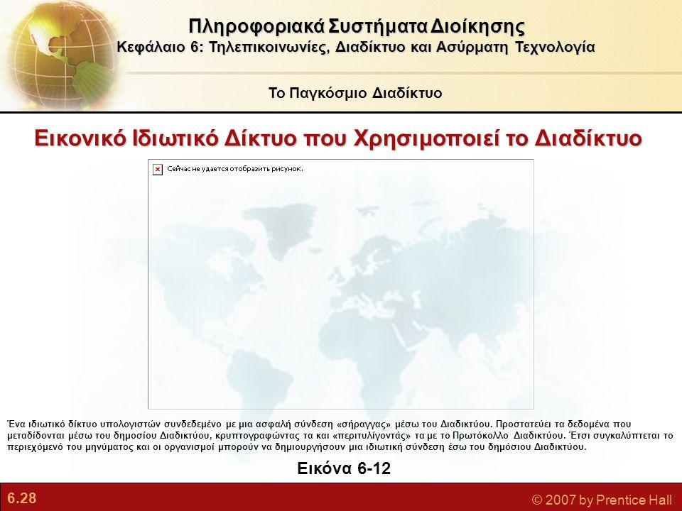 6.28 © 2007 by Prentice Hall Εικονικό Ιδιωτικό Δίκτυο που Χρησιμοποιεί το Διαδίκτυο Πληροφοριακά Συστήματα Διοίκησης Κεφάλαιο 6: Τηλεπικοινωνίες, Διαδ