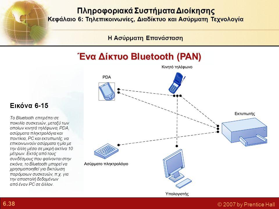 6.38 © 2007 by Prentice Hall Ένα Δίκτυο Bluetooth (PAN) Πληροφοριακά Συστήματα Διοίκησης Κεφάλαιο 6: Τηλεπικοινωνίες, Διαδίκτυο και Ασύρματη Τεχνολογί