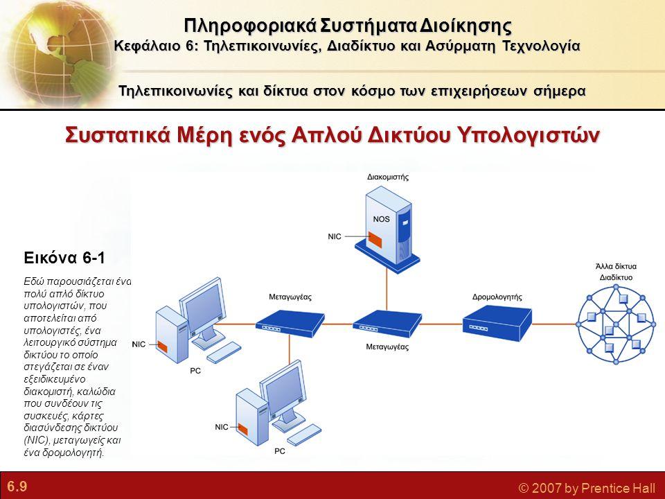 6.40 © 2007 by Prentice Hall  Ασύρματα δίκτυα υπολογιστών και πρόσβαση στο Διαδίκτυο Wi-Fi (συνέχεια)  Κόμβοι πρόσβασης (Hotspots): Ένα ή περισσότερα σημεία πρόσβαση σε δημόσιο χώρο για την παροχή μέγιστης ασύρματης κάλυψης σε μια ορισμένη περιοχή  Μη ικανοποιητικά χαρακτηριστικά ασφάλειας WiMax (802.16)  Εμβέλεια ασύρματης πρόσβασης ως 50 χιλιόμετρα  Απαιτούνται κεραίες WiMax Κυψελωτές ασύρματες υπηρεσίες ευρείας ζώνης  Πολλές κυψελωτές υπηρεσίες έχουν δυνατότητες Wi-Fi για πρόσβαση στο Διαδίκτυο Πληροφοριακά Συστήματα Διοίκησης Κεφάλαιο 6: Τηλεπικοινωνίες, Διαδίκτυο και Ασύρματη Τεχνολογία Η Ασύρματη Επανάσταση
