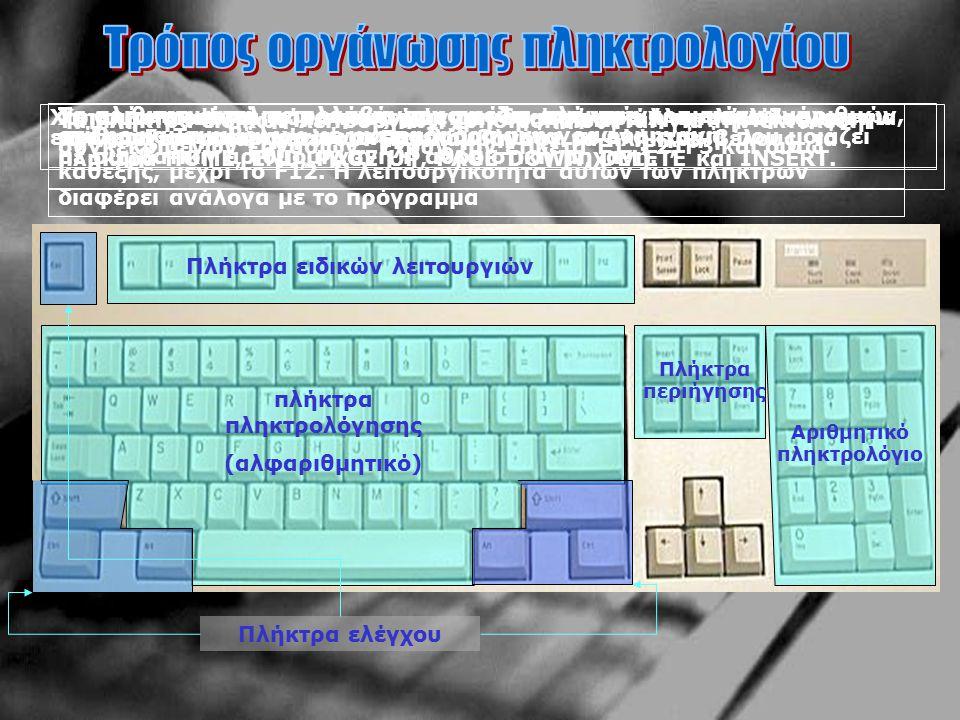 Ορισμένα πληκτρολόγια περιέχουν και άλλα πλήκτρα, όπως είναι το Fn που βρίσκεται στoυς φορητούς υπολογιστές Στα περισσότερα σύγχρονα πληκτρολόγια υπάρχουν δύο πλήκτρα τα οποία έχουν το λογότυπο των windows WIN KEYS και ενεργοποιούν το βασικό menu και ένα που παίζει το ρόλο του δεξί κλικ του ποντικιού MENU KEY
