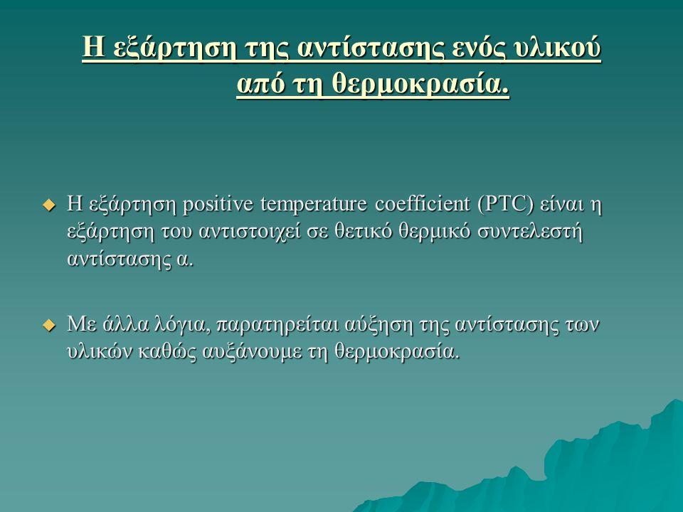 Η εξάρτηση της αντίστασης ενός υλικού από τη θερμοκρασία.  Η εξάρτηση positive temperature coefficient (PTC) είναι η εξάρτηση του αντιστοιχεί σε θετι