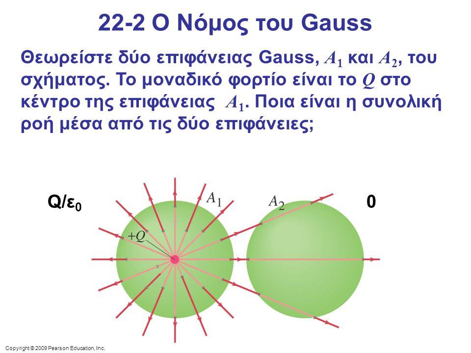 Copyright © 2009 Pearson Education, Inc. 22-2 Ο Νόμος του Gauss Θεωρείστε δύο επιφάνειας Gauss, A 1 και A 2, του σχήματος. Το μοναδικό φορτίο είναι το