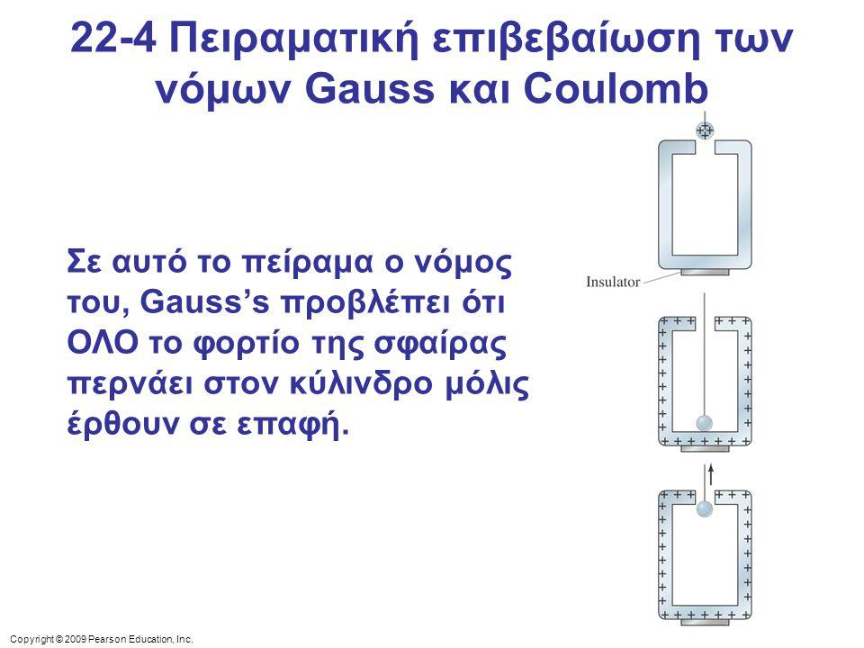 Copyright © 2009 Pearson Education, Inc. 22-4 Πειραματική επιβεβαίωση των νόμων Gauss και Coulomb Σε αυτό το πείραμα ο νόμος του, Gauss's προβλέπει ότ