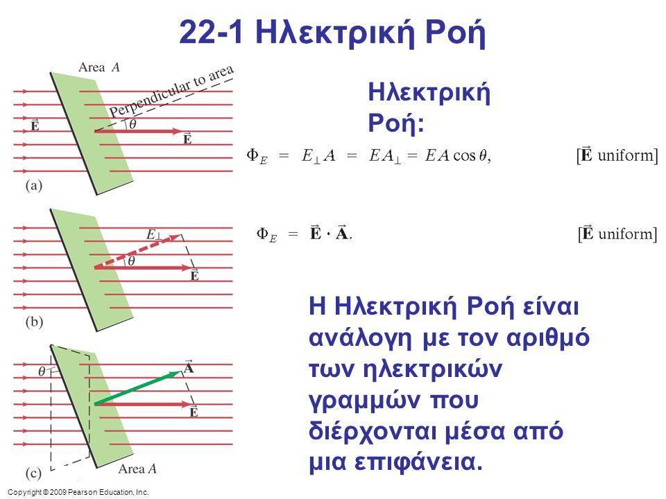Copyright © 2009 Pearson Education, Inc. Ηλεκτρική Ροή: Η Ηλεκτρική Ροή είναι ανάλογη με τον αριθμό των ηλεκτρικών γραμμών που διέρχονται μέσα από μια