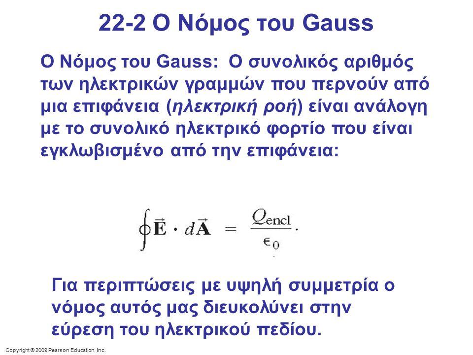 Copyright © 2009 Pearson Education, Inc. Ο Νόμος του Gauss: Ο συνολικός αριθμός των ηλεκτρικών γραμμών που περνούν από μια επιφάνεια (ηλεκτρική ροή) ε