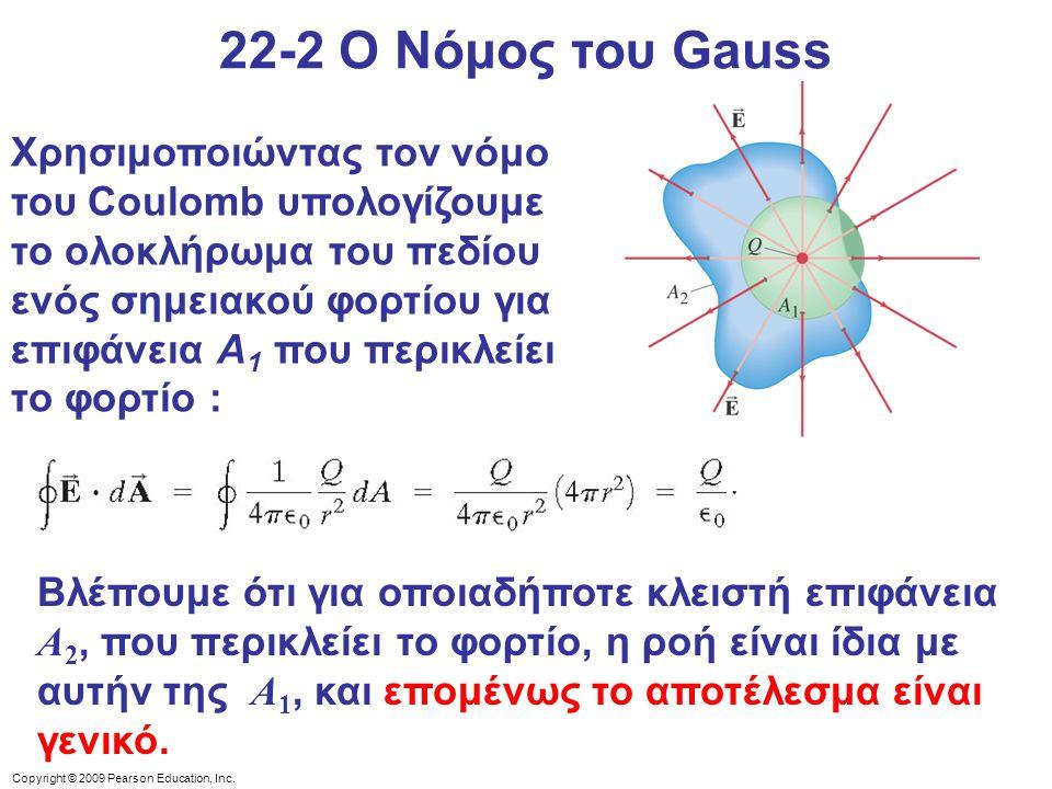 Copyright © 2009 Pearson Education, Inc. 22-2 Ο Νόμος του Gauss Χρησιμοποιώντας τον νόμο του Coulomb υπολογίζουμε το ολοκλήρωμα του πεδίου ενός σημεια