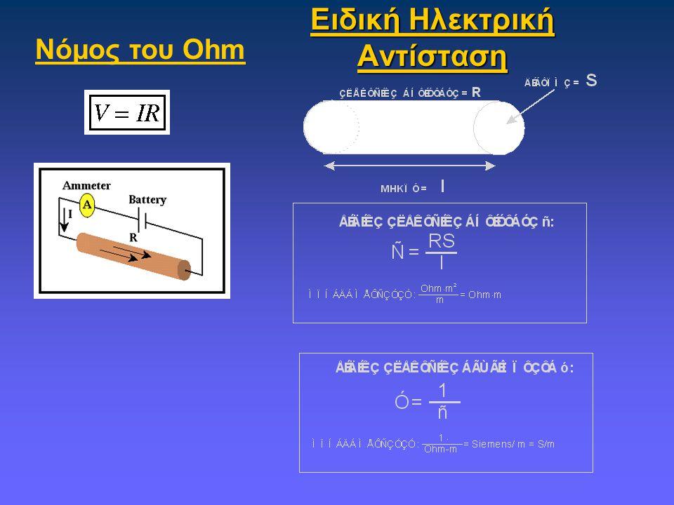 Ειδική Ηλεκτρική Αντίσταση Νόμος του Ohm