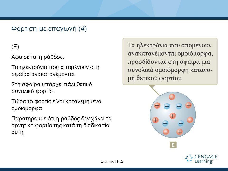 Φόρτιση με επαγωγή (4) (Ε) Αφαιρείται η ράβδος. Τα ηλεκτρόνια που απομένουν στη σφαίρα ανακατανέμονται. Στη σφαίρα υπάρχει πάλι θετικό συνολικό φορτίο