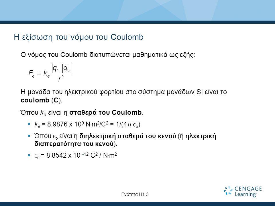 Η εξίσωση του νόμου του Coulomb Ο νόμος του Coulomb διατυπώνεται μαθηματικά ως εξής: Η μονάδα του ηλεκτρικού φορτίου στο σύστημα μονάδων SI είναι το c