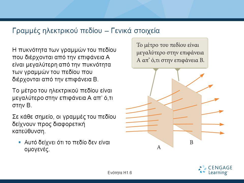 Γραμμές ηλεκτρικού πεδίου – Γενικά στοιχεία Η πυκνότητα των γραμμών του πεδίου που διέρχονται από την επιφάνεια A είναι μεγαλύτερη από την πυκνότητα τ