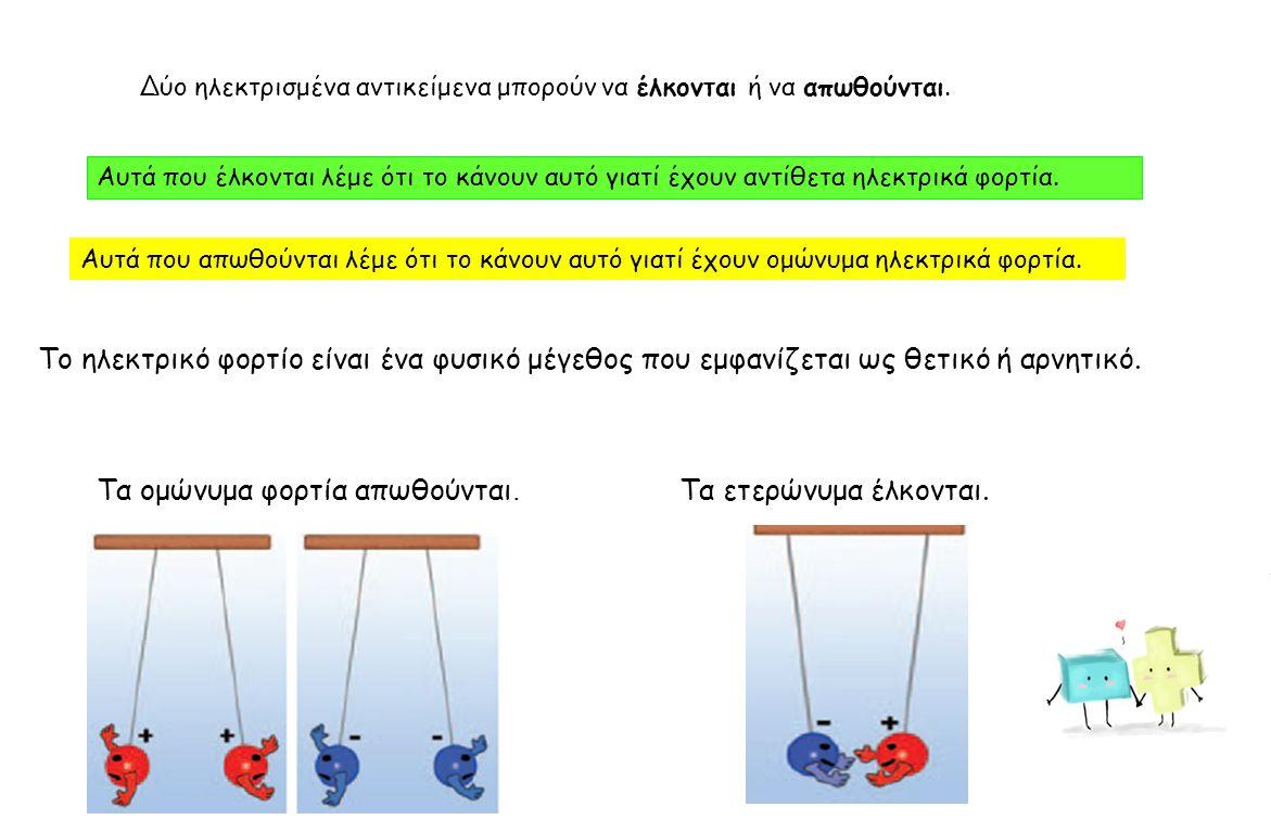Δύο ηλεκτρισμένα αντικείμενα μπορούν να έλκονται ή να απωθούνται. Αυτά που έλκονται λέμε ότι το κάνουν αυτό γιατί έχουν αντίθετα ηλεκτρικά φορτία. Αυτ