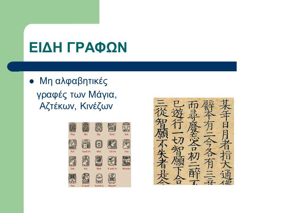 EIΔΗ ΓΡΑΦΩΝ Και Αλφαβητικές γραφές Φοινικικό (χωρίς φωνήεντα), Ελληνικό αλφάβητο, λατινικό.