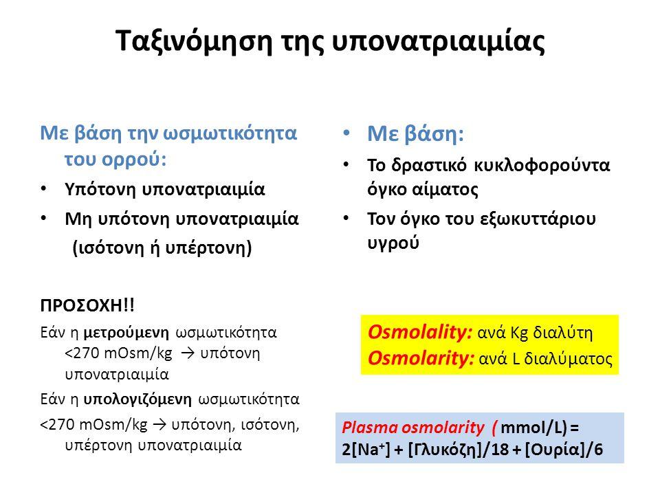 Με βάση την ωσμωτικότητα του ορρού: Υπότονη υπονατριαιμία Μη υπότονη υπονατριαιμία (ισότονη ή υπέρτονη) ΠΡΟΣΟΧΗ!! Εάν η μετρούμενη ωσμωτικότητα <270 m