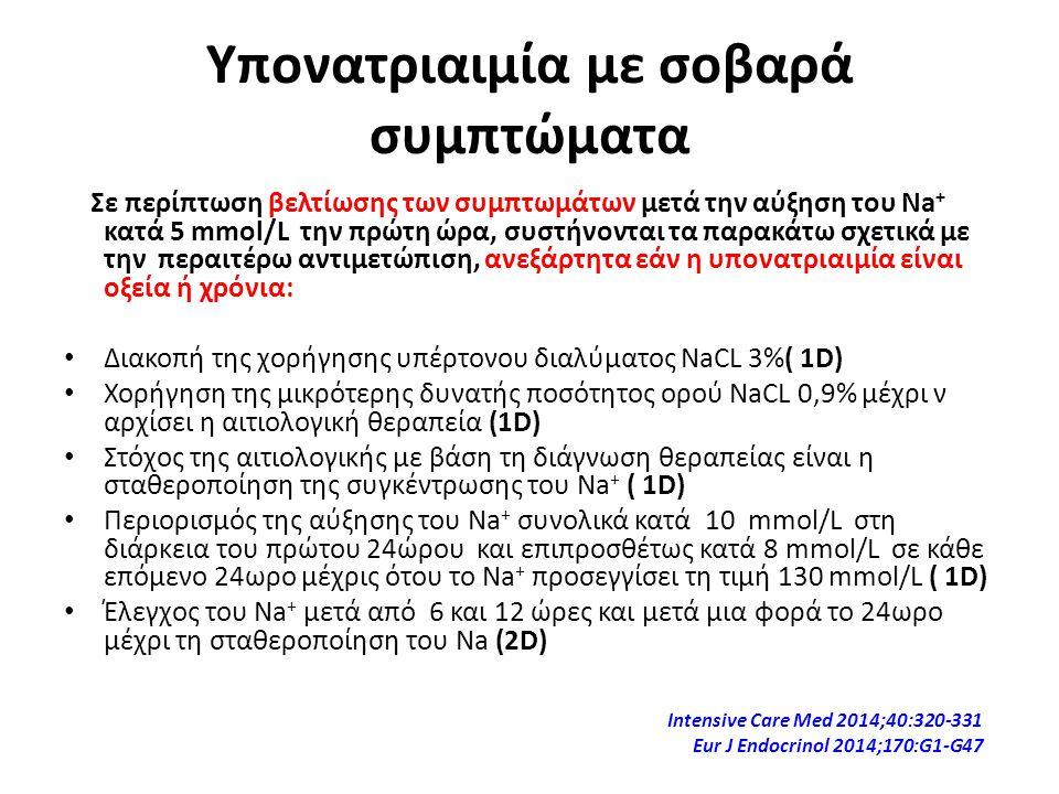 Υπονατριαιμία με σοβαρά συμπτώματα Σε περίπτωση βελτίωσης των συμπτωμάτων μετά την αύξηση του Na + κατά 5 mmol/L την πρώτη ώρα, συστήνονται τα παρακάτ