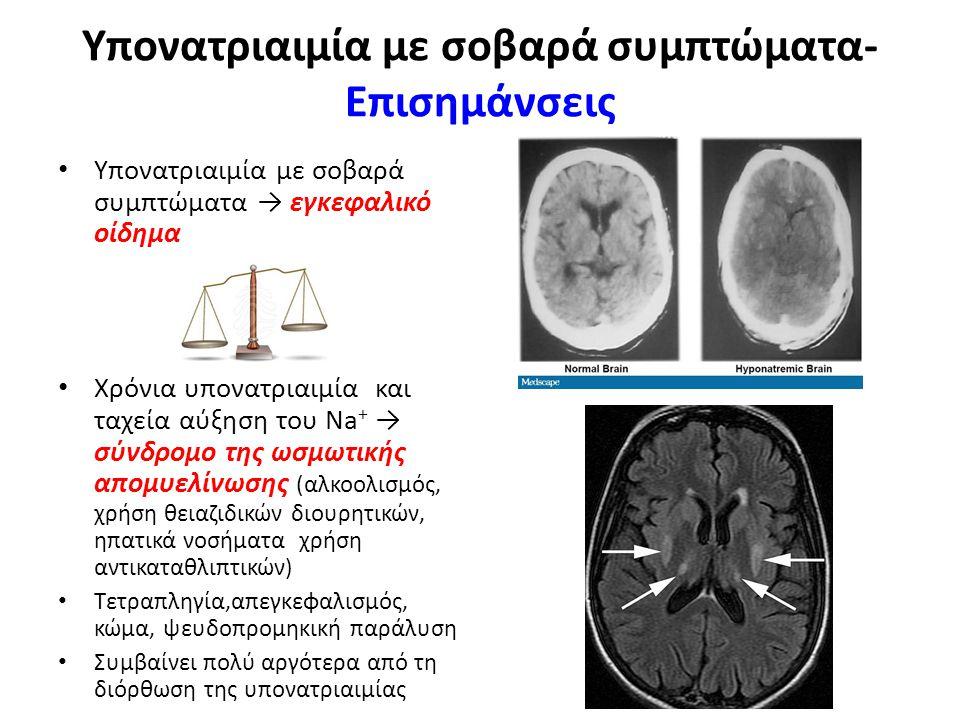 Υπονατριαιμία με σοβαρά συμπτώματα- Eπισημάνσεις Υπονατριαιμία με σοβαρά συμπτώματα → εγκεφαλικό οίδημα Χρόνια υπονατριαιμία και ταχεία αύξηση του Na