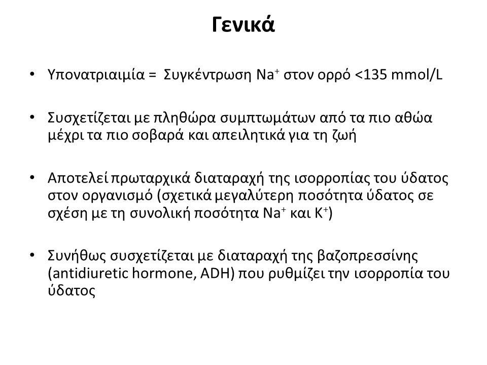 Γενικά Υπονατριαιμία = Συγκέντρωση Νa + στον ορρό <135 mmol/L Συσχετίζεται με πληθώρα συμπτωμάτων από τα πιο αθώα μέχρι τα πιο σοβαρά και απειλητικά γ