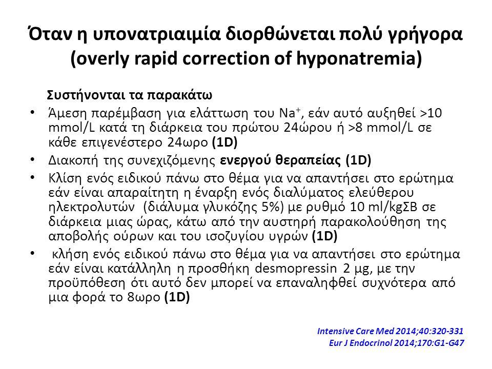 Όταν η υπονατριαιμία διορθώνεται πολύ γρήγορα (overly rapid correction of hyponatremia) Συστήνονται τα παρακάτω Άμεση παρέμβαση για ελάττωση του Na +,