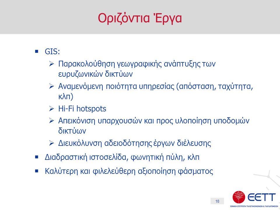 18 Οριζόντια Έργα  GIS:  Παρακολούθηση γεωγραφικής ανάπτυξης των ευρυζωνικών δικτύων  Αναμενόμενη ποιότητα υπηρεσίας (απόσταση, ταχύτητα, κλπ)  Hi-Fi hotspots  Απεικόνιση υπαρχουσών και προς υλοποίηση υποδομών δικτύων  Διευκόλυνση αδειοδότησης έργων διέλευσης  Διαδραστική ιστοσελίδα, φωνητική πύλη, κλπ  Καλύτερη και φιλελεύθερη αξιοποίηση φάσματος